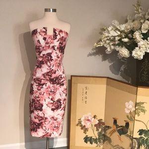 Black Halo Floral Strapless Dress Size 8